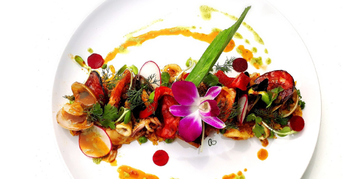 Seafood Paella & Grilled Chorizo from Zen Eat Phuket in Rawai, Phuket, Thailand.