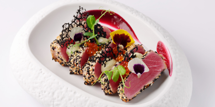 Seared-sesami-seed-crusted-Pacific-Tuna from Sizzle Rooftop Restaurant in Tritrang, Patong, Phuket, Thailand.