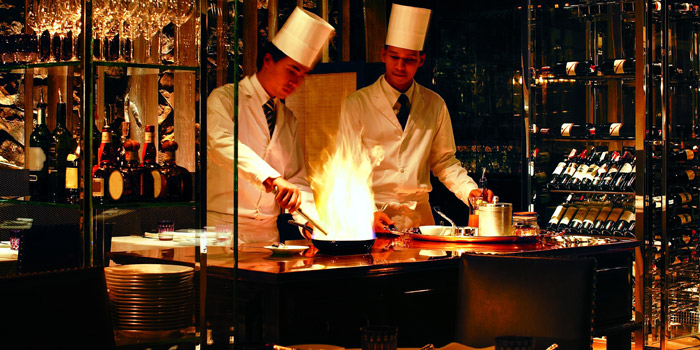 Table Side Cooking from Tables Grill Restaurant at Grand Hyatt Erawan, Bangkok