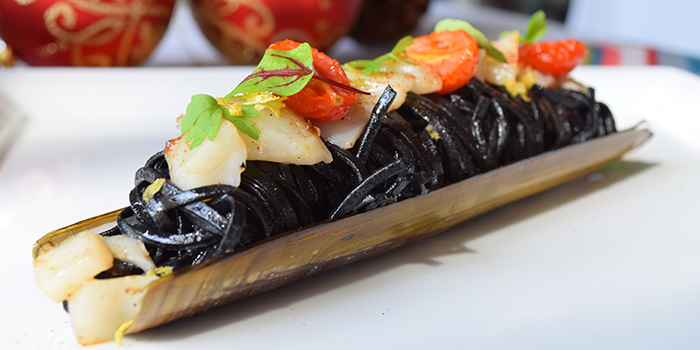 Black Squid Ink Tonnarelli with Razor Clams and Amalfi Lemon (24-25 Dec) from ilLido at the Cliff in Sentosa, Singapore