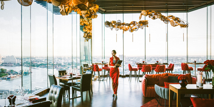 Indoor Dinning Area from Attitude Rooftop Bar & Restaurant at AVANI Riverside Bangkok Hotel Charoennakorn Road Thonburi, Bangkok