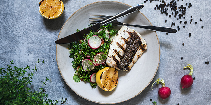 Grilled Fish & Kale Tabbouleh from Oasis Restaurant in Grand Hyatt Singapore in Orchard, Singapore