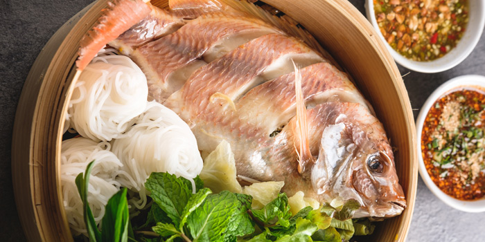 Steamed Fish with Condiment from Kinkao at Central World 4,4/1-4/2 4/4 Ratchadamri Rd Pathumwan Bangkok