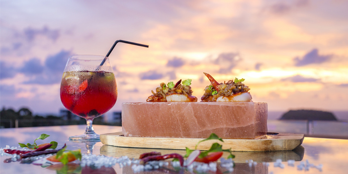 Cool Himalayan Salt Blocks Scallops Sashimi and Eternal Summer D from Twilight Sky at The SIS Kata, Phuket, Thailand
