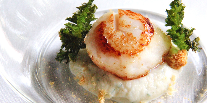Scallop, Cauliflower and Pandan Puree, Miso Biscuit, Kale from La Ventana in Dempsey, Singapore