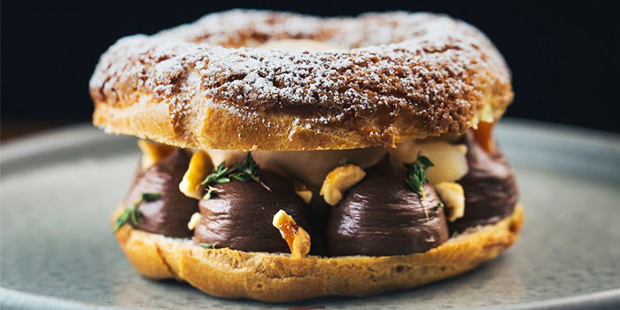 Paris-Brest, Chocolate, Praline, Pear & Thyme from Maggie Joan