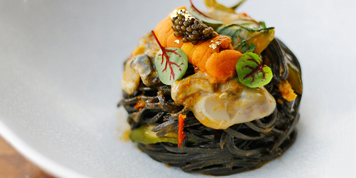 House Made Squid Ink Tagliolini from Monti in Fullerton, Singapore