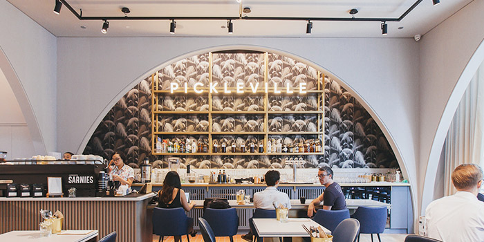 Interior of Pickleville in Raffles Place, Singapore