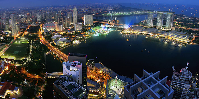 Night View from Stellar at 1-Altitude in Raffles Place, Singapore