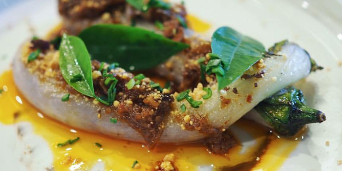 Aubergine in XO Sauce from Open Farm Community in Dempsey, Singapore