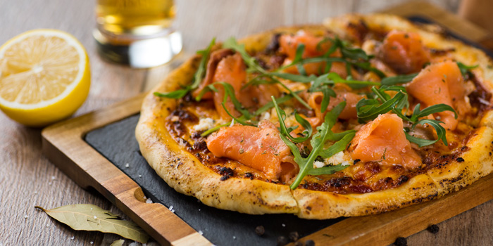 Pizza Smoked Salmon from The Firm at Sukhumvit 33 Alley Bangkok, Thailand