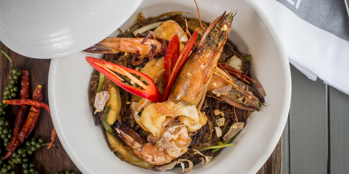 Rock-Salt-Goong-Ob-Woonsen-Rawai-tiger-prawns-baked-with-fragrant-noodles-and-Thai-ginger from Rock Salt in Nai Harn, Phuket, Thailand.