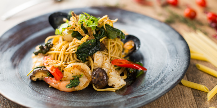 Spaghetti Spicy Seafood from The Firm at Sukhumvit 33 Alley Bangkok, Thailand