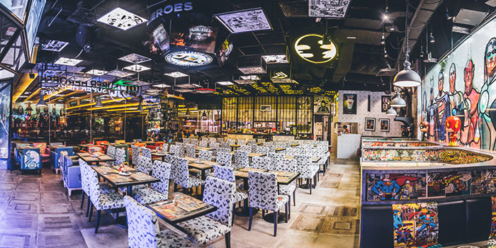 Dining Area of DC Super Heroes Cafe (Takashimaya) in Orchard, Singapore