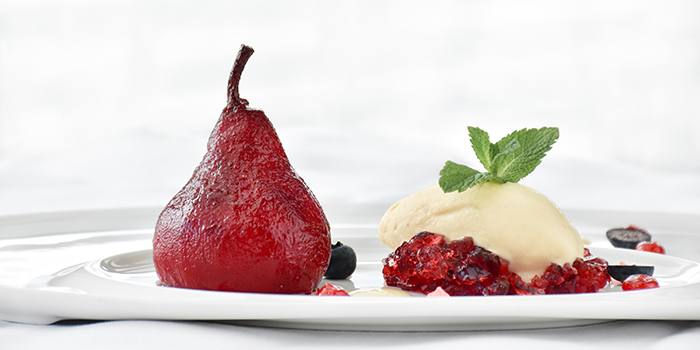 Red Wine Poached Pear from Monti in Fullerton, Singapore