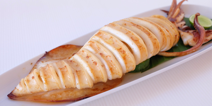 Grill Squid from Ocean Best Restaurant in Patong, Phuket, Thailand.