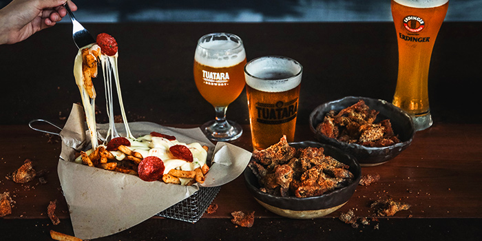 Pizza Fries, Southern Fried Chicken Skins & Beers from Alter Ego by A Poke Theory at Esplanade Mall in City Hall, Singapore