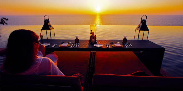 Romantic Dinner of Paresa Dining in Kamala, Phuket, Thailand.