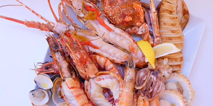 Seafood basket from Ocean Best Restaurant in Patong, Phuket, Thailand.