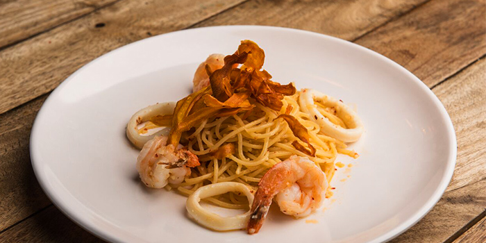 Seafood Aglio Olio from Beer Factory in Raffles Place, Singapore