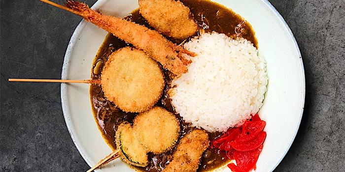 Beef Curry Rice with Assorted Kushikatsu from Panko in Bugis, Singapore
