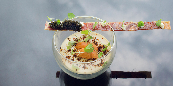 Steamed sea urchin custard | Iberico cracker | Sturia vintage caviar from Stellar at 1-Altitude in Raffles Place, Singapore