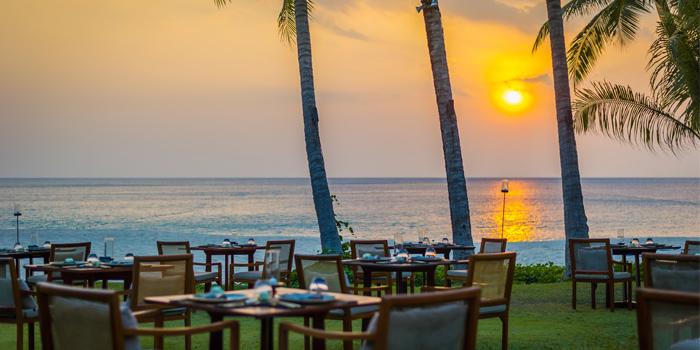 Sunset of Beach Restaurant in Cherngtalay, Thalang, Phuket, Thailand