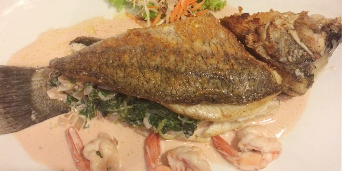 Fried fish from Grillhutte in Patong, Phuket, Thailand.