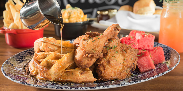 Chicken & Waffles from The Bird Southern Table & Bar at The Shoppes at Marina Bay Sands in Marina Bay, Singapore