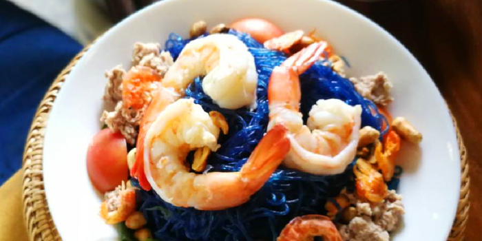 Spicy Butterfly Pea Noodle Salad With Shrimp from Raan Keng Restaurant at 9 Pradiphat 14 Alley(Kingchinda Alley) Pradiphat Road Samsennai, Phayathai Bangkok