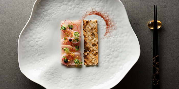 Wild Hamachi Sashimi from Racines at Sofitel in Tanjong Pagar, Singapore