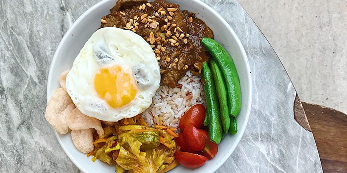 Satay Beef Rice Bowl from Food For Thought in the National Museum of Singapore in Dhoby Ghaut, Singapore