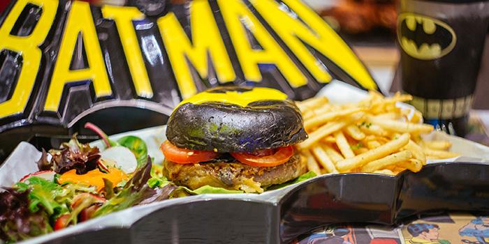 Batman Dark Knight Burger from DC Super Heroes Cafe (Marina Bay Sands) at The Shoppes at Marina Bay Sands in Marina Bay, Singapore