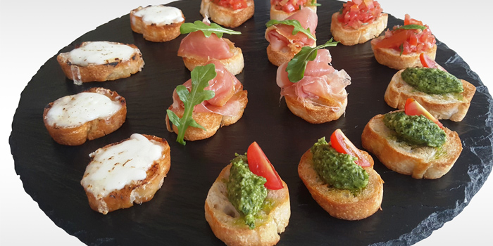 Bruschetta Platter from Coast Beach Club and Bistro in Patak Road Kata Muang Phuket, Thailand