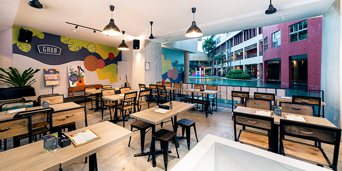 Main Dining Area of GRUB Burger + Noodle Bar at HomeTeamNS-JOM in Balestier, Singapore
