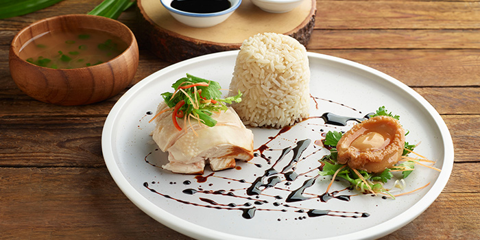 Poached Hainanese Chicken with Infused Fragrance Rice and Braised Baby Abalone from Window on the Park in Holiday Inn Singapore Orchard City Centre in Orchard, Singapore