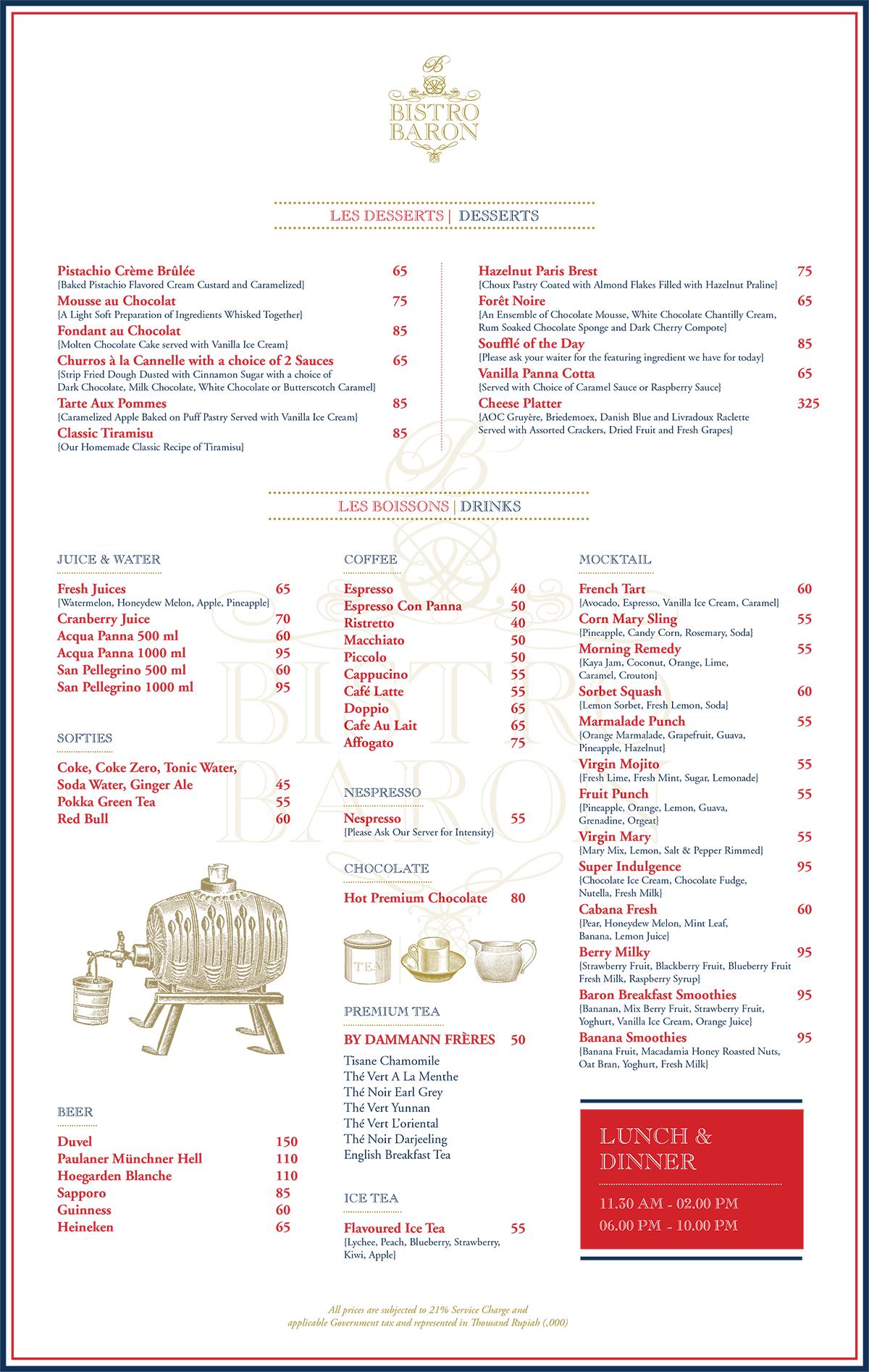 Bistro Baron Chope Restaurant Reservations Voucher Eric Kayser Hours