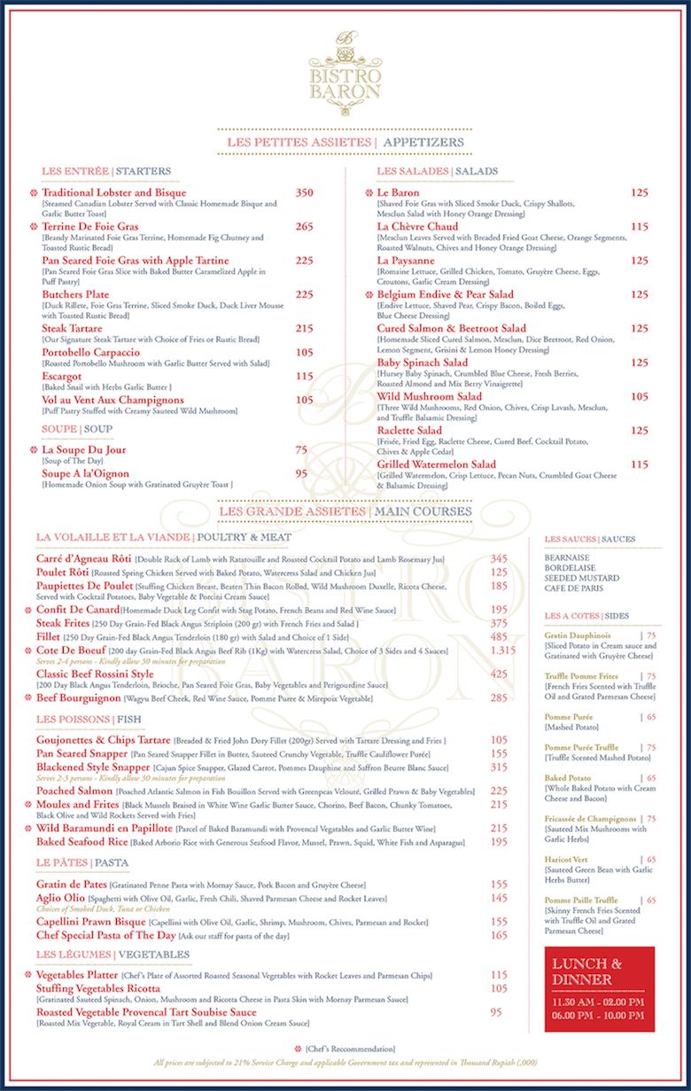 Bistro Baron Chope Restaurant Reservations Voucher Eric Kayser Main Menu