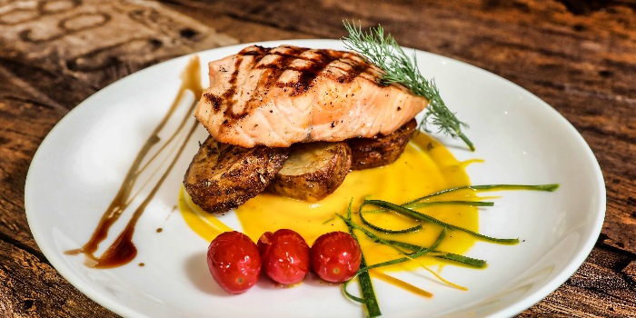 Grilled Salmon from Cuba Libre Cafe & Bar (Frasers Tower) in Tanjong Pagar, Singapore
