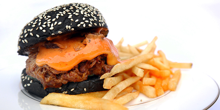 Charcoal Burger with Sambal Pulled Pork from Wild Blooms in Serangoon, Singapore